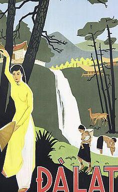 affiche ancienne de promotion de la ville de Da Lat au Vietnam #Vintage #Dalat poster
