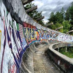 Exploring Sarajevo's Abandoned Olympic Park. Click the image for more. Abandoned Amusement Parks, Abandoned Places, Canyon Road, Bosnia And Herzegovina, Montenegro, Art World, Urban Decay, Street Art, Explore