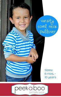 Varsity Cowl Neck Pullover - sweat mixte - du 6 mois au 10 ans - à imprimer - 7,95$