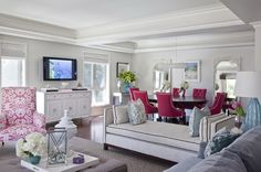 House of Turquoise: Emily Ruddo -- this living room is too girly for my house, but very beautiful and serene My Living Room, Home And Living, Living Spaces, Living Area, Modern Living, Modern Room, Coastal Living, House Of Turquoise, Pink Turquoise