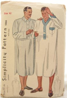 Simplicity 1886 Mens Night Shirt 1930s Vintage by EmSewCrazy, $20.00
