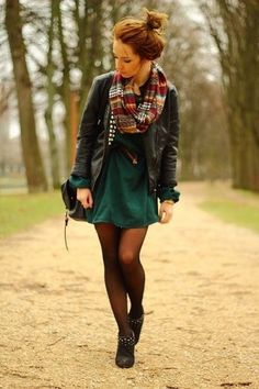 Dress, tights, boots, leather jacket, infinity scarf