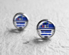 Silver Stud, Post Earrings, Star Wars R2D2, Tiny Earring Studs, Small Earrings, Valentines Day Gift E120