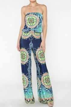 Palazoo Pants Sexy Strapless Navy Blue Tribal Hippies 70's Tall Jumpsuit S M L  #JBrand #JumpsuitRompers