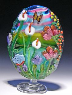 Landscape bead with calla lilies and iris