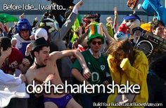 Before I die, I want to...Do the Harlem Shake.. What's on your Bucket List?  Create yours at BucketMate.com