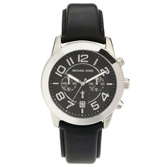 Michael Kors MK8288 Men's Mercer Black Dial Black Leather Strap Chronograph Watch