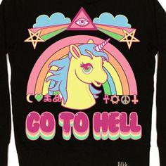 Go To Hell Pony Rainbow unisex/mens sweater trui zwart - Glamrock Emo Fantasy