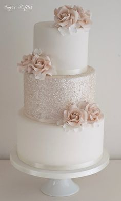 Muted dusky pink glitter wedding at castleton farms by amanda may photos Sparkly Wedding Cakes, Pretty Wedding Cakes, Wedding Cakes With Flowers, Wedding Cake Designs, Wedding Cake White, Blush Pink Wedding Cake, Sparkly Cake, Fondant Wedding Cakes, Wedding Dress Cake