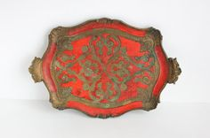 Busa Italian Tray in Red, Brown, and  Gold- for Serving or Home Decor by OldVintageGoodies, $12.00