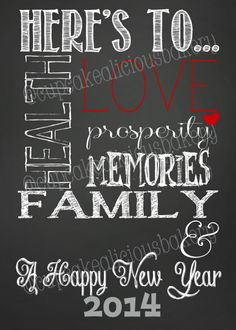 Printable Happy New Year 2014 Artwork by CupcakealiciousBakry, $5.00