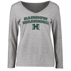 Hawaii Warriors Women's Proud Mascot Slim Fit Long Sleeve T-Shirt - Ash