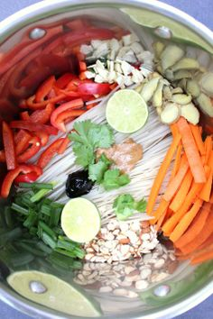 One pot veggies, spice and rice. Rice noodles cooked with veggies, almond butter, herbs and spices...all in one pot!
