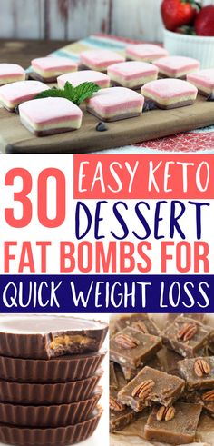 These keto fat bombs are so EASY! Fat bombs make for a yummy keto dessert for my ketogenic Diet! Cheesecake fat bombs, peanut butter fat bombs, chocolate, strawberry & more! Love these low carb…More Easy Keto Dessert Ideas Keto Desserts, Clean Eating Desserts, Keto Friendly Desserts, Keto Snacks, Keto Recipes, Dessert Recipes, Dessert Ideas, Snack Recipes, Recipes Dinner
