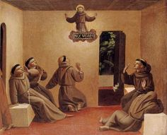Apparition of St. Francis at Arles (from the predella of the Compagnia di San Francesco Altarpiece) - Fra Angelico.  c.1429.  Tempera on panel.  26 x 31 cm.  Gemaldegalerie, Staatliche Museen zu Berlin, Berlin, Germany.