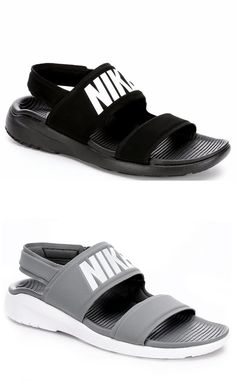 Description: Nike Tanjun Women's SandalAdd an athletic twist to your spring and summer look in the Tanjun women's sandal from Nike. A soft neoprene upper creates a dry, comfortable fit along with an adjustable hook-and-loop closure. Providing a plush feel is a lightweight Phylon midsole with the classic Tanjun shaped o Outfit With Nike Shoes, Adidas Slides Outfit, Women Nike Shoes, Nike Slides, Adidas Sandals, Running Shoes Nike, Nike Women, Sandals Outfit, Nike Free Shoes