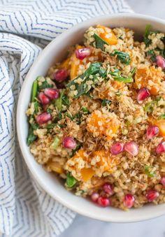 Nutritious and delicious Coconut Bulgur and Butternut Squash Bowl   healthynibblesandbits.com #vegan