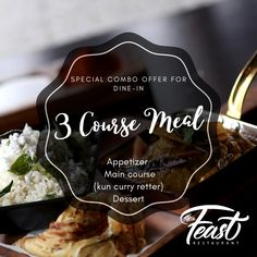 Book online hos The Feast Sarpsborg AS 3 Course Meals, Books Online, Maine, Curry, Appetizers, Restaurant, Dining, Desserts, Food
