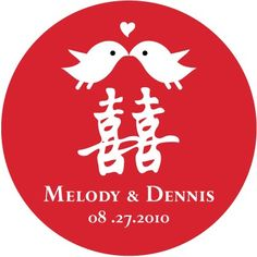 50 Chinese Wedding Stickers or Tags ( 2 inch round ) Birdie Double Happiness BD027CI. $18.00, via Etsy.