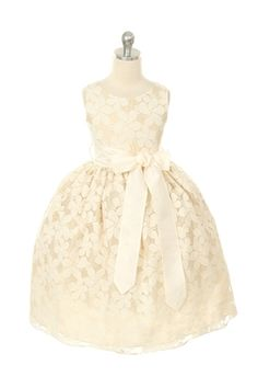 Flower Embroidered Lace Dress with removable sash