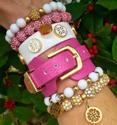 Rustic cuff - pink stack
