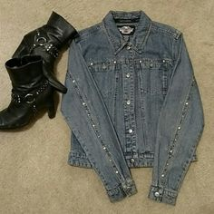 SaleHarley Davidson Jean Jacket NWOT Studded & Sassy! Perfect for those chilly nights ⛄ Harley Davidson Jackets & Coats Jean Jackets