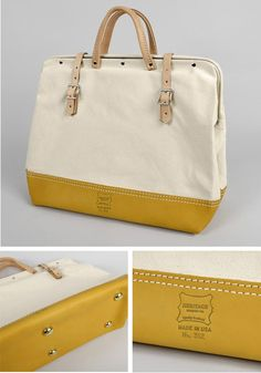 I must have. Heritage Leather Co. Canvas Mason Bag with Leather Bottom $87