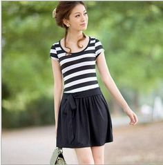 Aliexpress.com : Buy Free Shipping O neck Female Dress Short Sleeve Cotton Spring Autumn Above Knee Black$White Striped Skirt from Reliable Short sleeve Skirt suppliers on Windruner $26.00