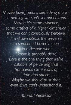Interstellar movie quote on love.