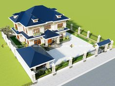Two-storey Classic Villa with Four bedrooms and a Worship Room - Cool House Concepts Classic House Exterior, Modern Exterior House Designs, Classic House Design, Bungalow House Design, Dream House Exterior, Modern House Design, House Plans Mansion, Luxury House Plans, House Floor Plans