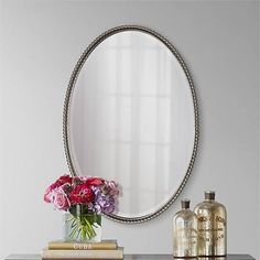 """Uttermost Brushed Nickel Sherise Oval 32 """" High Wall Mirror - #97306   Lamps Plus"""