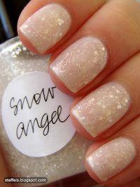 fall nails - adorable glittery white shade