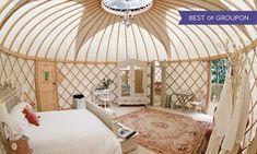 Groupon - Somerset: 1 or 2 Nights for Two in a Yurt with Breakfast, Spa Access…