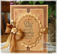 """By Kathy Roney. Dies used: Classic Scalloped Oval Large #5"""" and Spellbinders """"Floral Ovals #3."""" See her website for a list of other materials."""