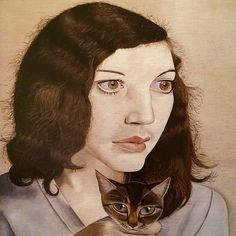 """""""Girl with a Kitten"""" by Lucien Freud, 1947 Figure Painting, Painting & Drawing, People Icon, Feminine Mystique, Lucian Freud, Art For Art Sake, Modern Artists, Face Art, Figurative Art"""
