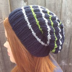 Hand Knitted Seattle Seahawks Hat. Not my style but maybe someone out there might buy one.