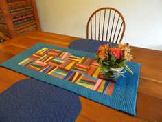 Blue Stripe Patchwork Quilted Table Runner by cindygrisdela Contemporary Table Runners, Modern Table Runners, Contemporary Quilts, Modern Contemporary, Striped Table Runner, Quilted Table Runners, Small Quilts, Easy Quilts, Quilting Projects