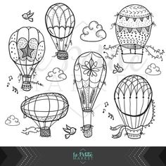 Cute Hand Drawn Hot Air Balloon Clip Art, Doodle Hot Air Balloons, Nursery Clipart, Instant Download PNG and EPS Vector Clipart