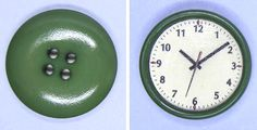 Super simple clock (printable face on button) | Source: Miniatures in Dollhouse Scale (MIDS)