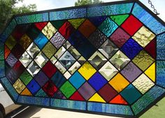 Stained Glass Color Sampler Window Panel With Bevels and Jewel