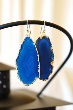 Strikingly Sapphire Blue Agate Slice Earrings - Geode Earrings - Geode Druzy - Stone Jewelry