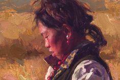 """""""Checking the Harvest"""" Tibet, oil, 24"""" by 36"""" 2005Scott39"""
