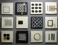 Ceramic and mixed media x x ©Lori Katz : Gallery One : Lori Katz Ceramic Design Ceramic Wall Art, Tile Art, Art Decor, Room Decor, Mini Canvas Art, Ceramic Design, Home And Deco, Geometric Art, Wood Art