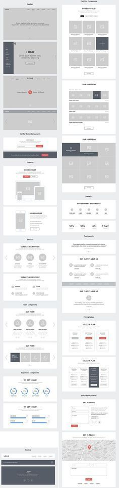PSD Web Design - One Page Website Wireframes » Graphic GFX PSD Sources Stock Vector Image Tutorials Download:
