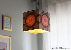 Easy DIY Portal Companion Cube Pendant Lamp - Our Nerd Home