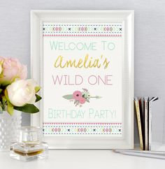 Wild One Welcome Sign, First Birthday, Party Sign, Tribal Boho Party Decor, Welcome Sign, Door Sign, Wild One Printable, Pink Mint Gold by SarahFinnDesign on Etsy