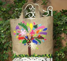 Handmade jute tote bagcolorful tree por Apopsis en Etsy