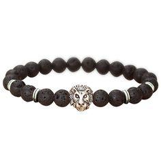 Wire Lion Head Black Lava Stone Beaded Bracelets Men Jewelry Silver Gold Rivet Hand Chain Beads Bracelet Femme Male Accessory