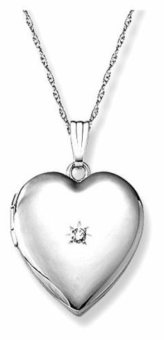 "14k White Gold Diamond-Accent Heart Locket, 20"" Amazon Curated Collection. $325.99. This item is handcrafted in the USA. Save 49% Off!"