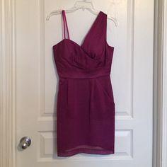 BCBG one shoulder fuchsia dress BCBG one shoulder fuchsia dress (skinny strap is just for hanging purposes). Never worn.... Beautiful dress! BCBGeneration Dresses One Shoulder